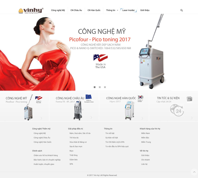 Thiết kế web thiết bị thẩm mỹ, spa Vin Hy