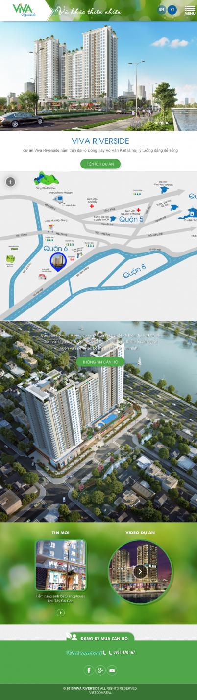 Thiết kế website bất động sản căn hộ vivariverside trên ipad