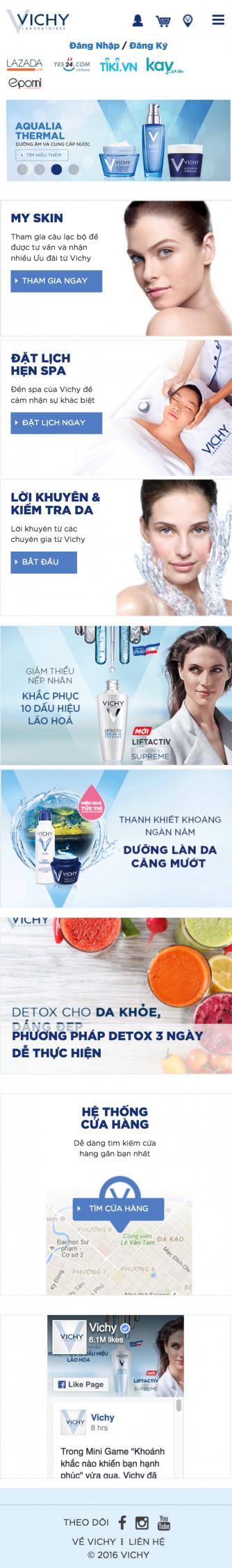 VICHY VIỆT NAM giao diện điện thoại