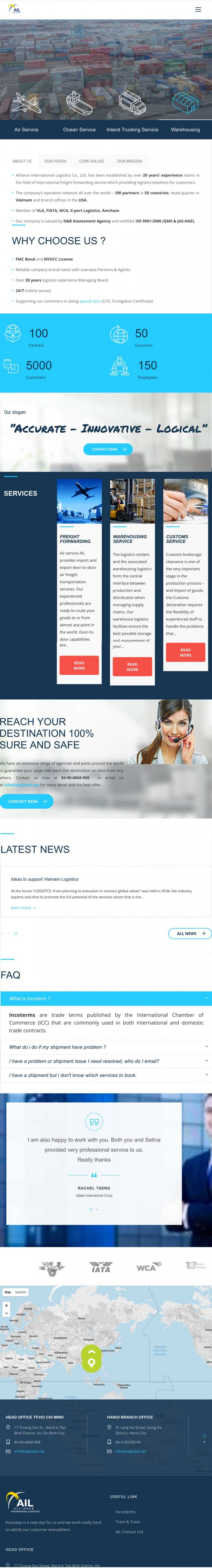 Thiết kế web công ty vận chuyển ALLIANCE INTERNATIONAL LOGISTICS trên ipad