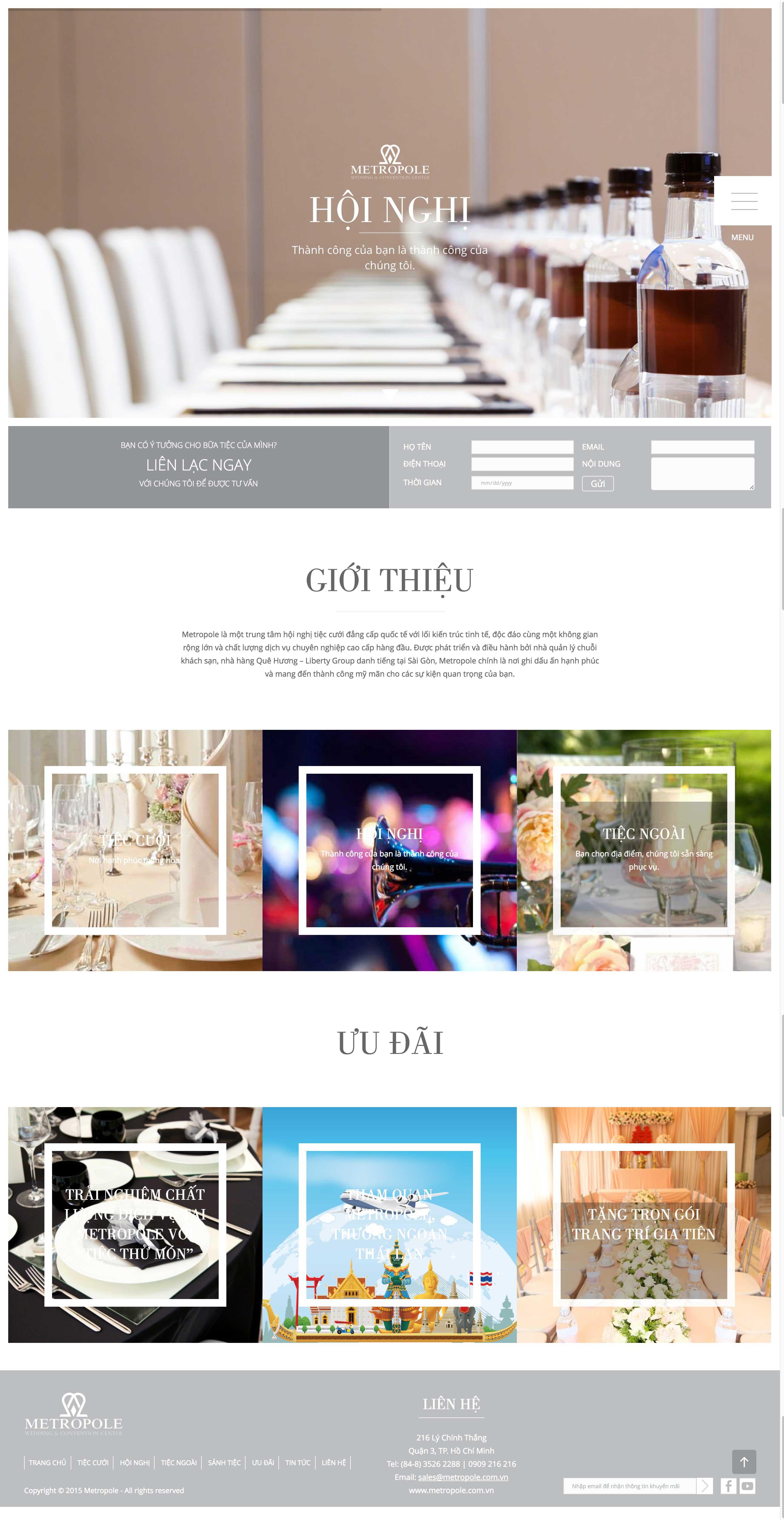 Thiết kế web nhà hàng trung tâm hội nghị tiệc cưới Metropole