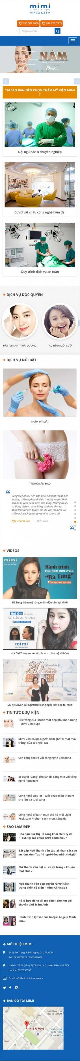 Thiết kế web trung tâm thẩm mỹ Mimi