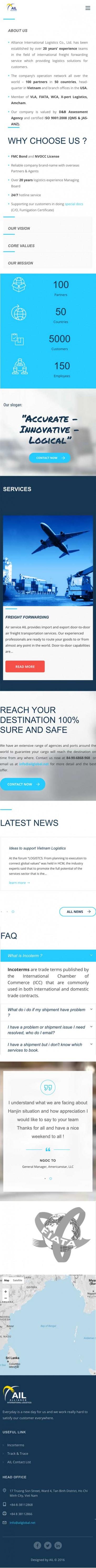 Thiết kế web công ty vận chuyển ALLIANCE INTERNATIONAL LOGISTICS trên mobile