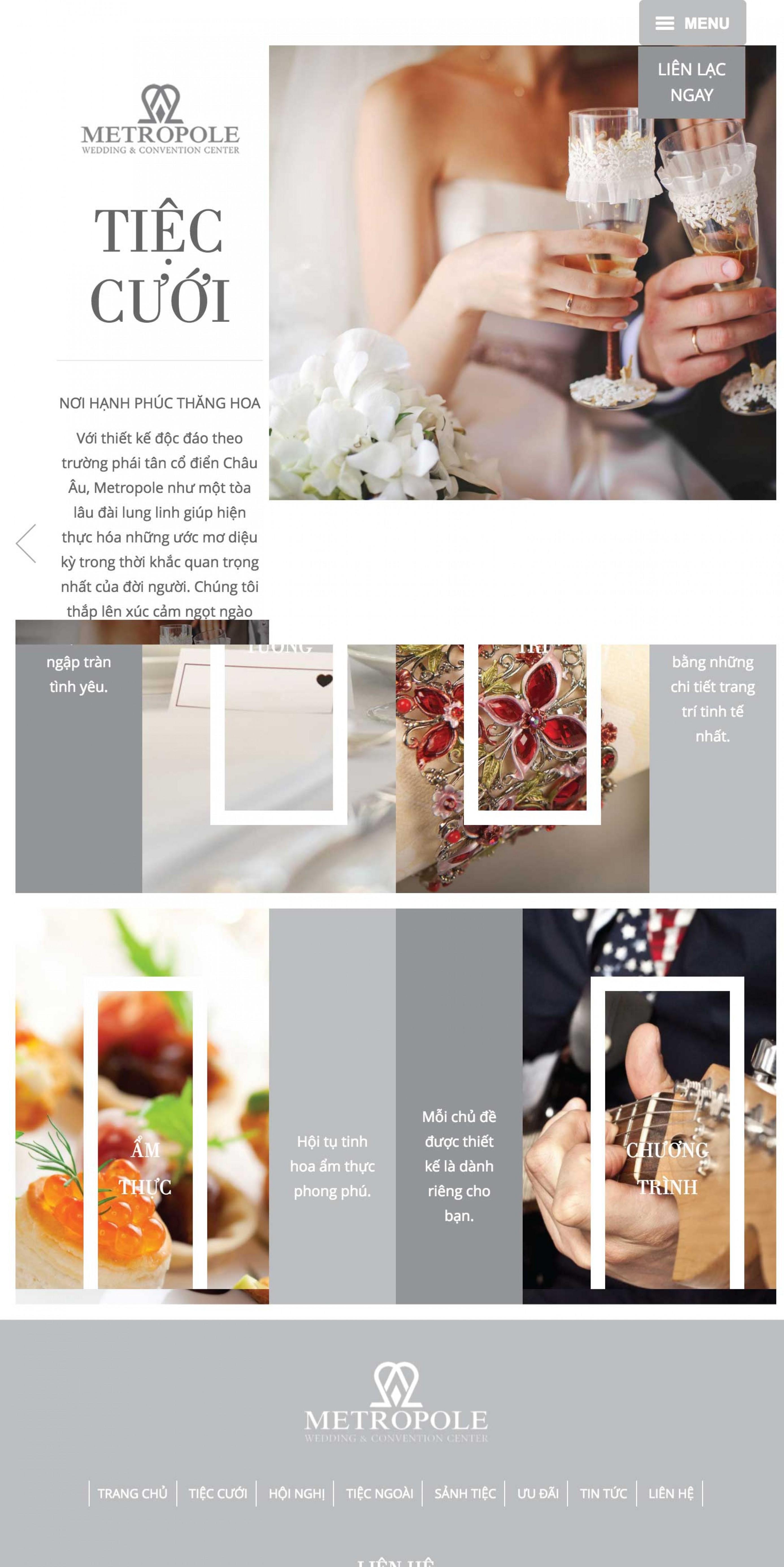 Thiết kế web nhà hàng trung tâm hội nghị tiệc cưới Metropole trên ipad