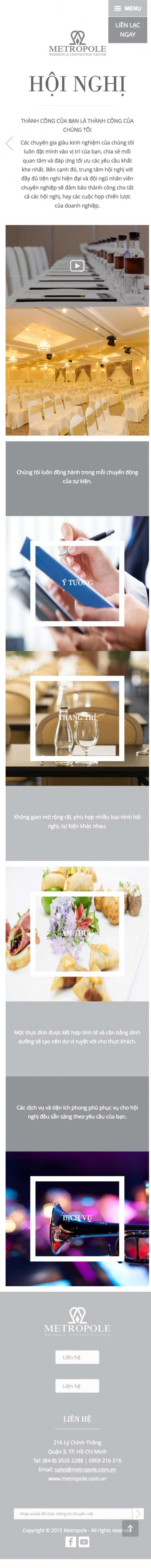 Thiết kế web nhà hàng trung tâm hội nghị tiệc cưới Metropole trên mobile