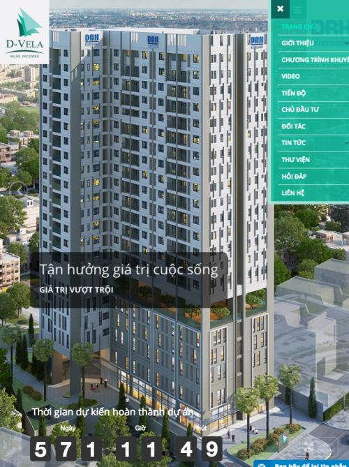 Dự án web căn hộ cao cấp D-VELA ipad