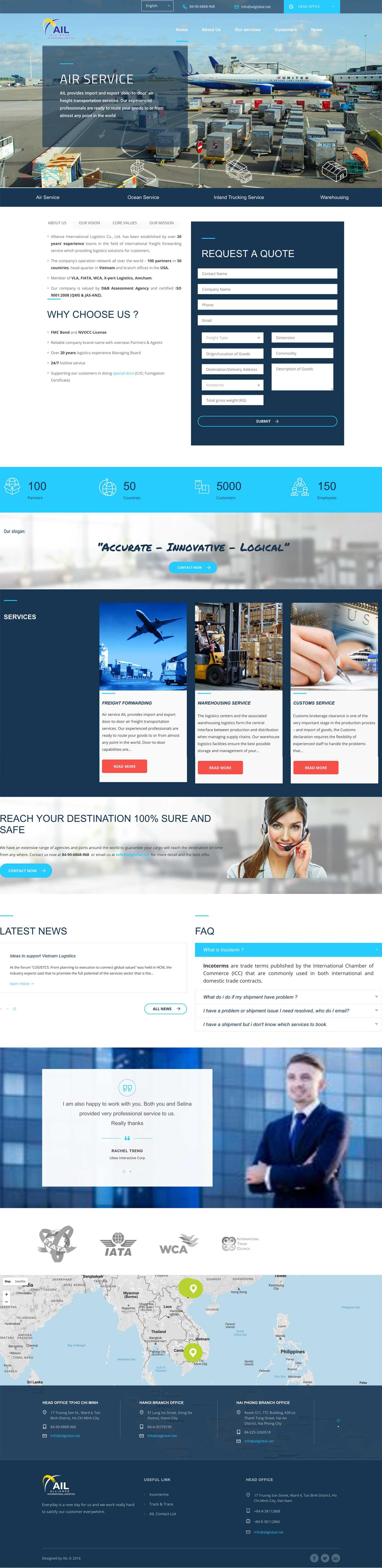 Thiết kế web công ty vận chuyển ALLIANCE INTERNATIONAL LOGISTICS